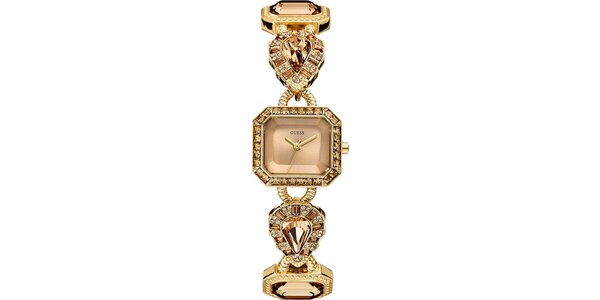 Dámske pozlátené oceľové hodinky so zirkónmi Guess