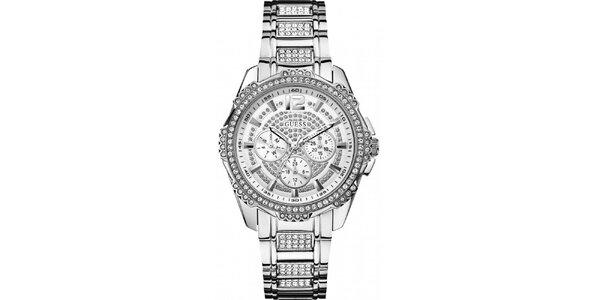 Dámske oceľové hodinky s kamienkami Guess