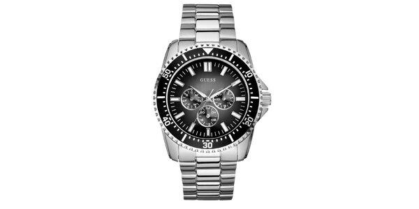 Pánske oceľové hodinky s chronografom a čiernym ciferníkom Guess