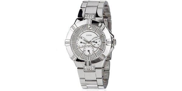 Dámske hodinky z leštenej ocele so zirkónmi Guess