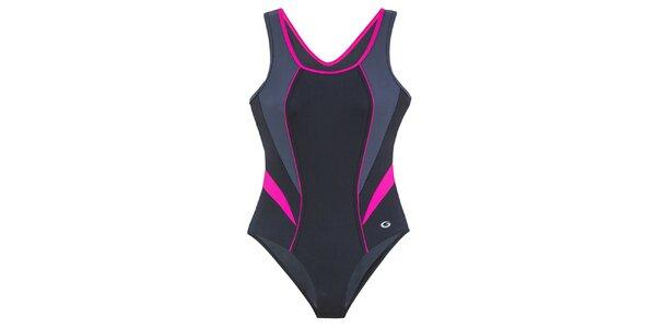 Dámske čierne jednodielne plavky s fuchsiovými detailmi Gwinner