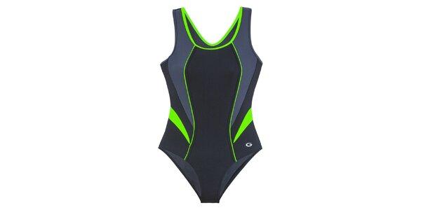 Dámske čierne jednodielne plavky so zelenými detailmi Gwinner