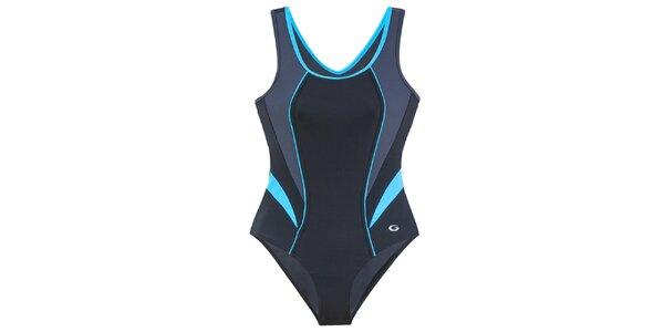 Dámske čierne jednodielne plavky s tyrkysovými detailmi Gwinner