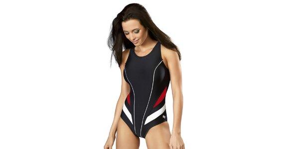 Dámske jednodielne čierne plavky s červeno-bielymi pruhmi Gwinner