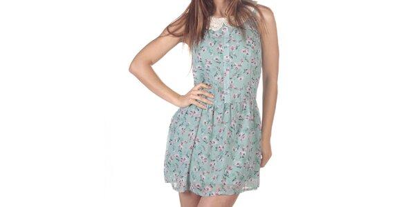 Dámske krátke kvetované šaty s čipkovým golierikom Azura