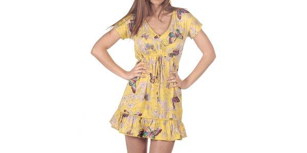 Dámske žlté šaty s potlačou motýľov a kvetín Azura