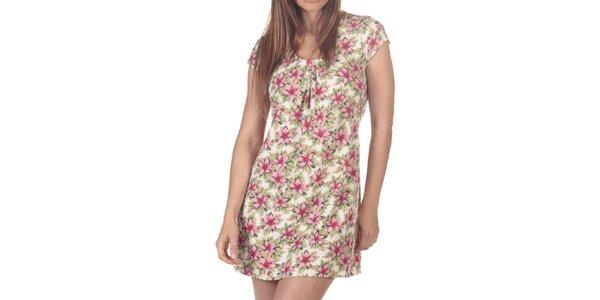 Dámske krátke šaty s ružovými kvietkami Azura