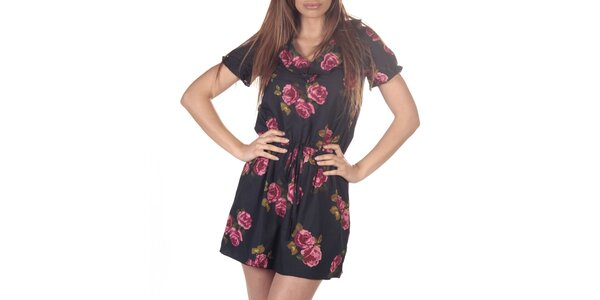 Dámske čierne šaty s potlačou ruží Azura