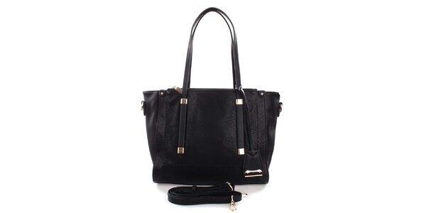 Dámska čierna kabelka so zlatými detailmi Castella & Beige