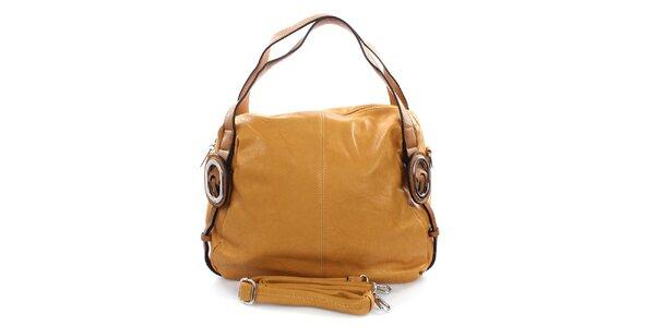 Dámska okrová kabelka s kovovými kolieskami Castella & Beige
