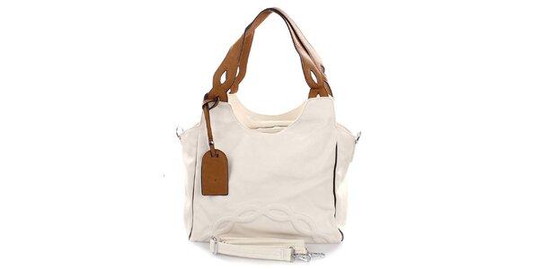 Dámska svetlá kabelka s hnedými pútkami Castella & Beige