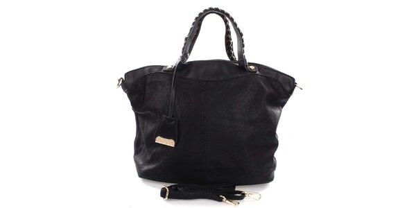 Dámska čierna kabelka s prepletanými ušami Castella & Beige
