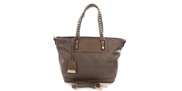 Dámska hnedá kabelka Castella & Beige s prepletaným popruhom