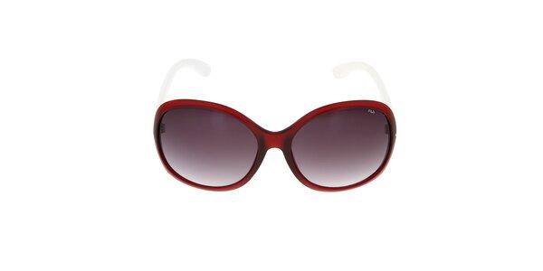 Dámske červené slnečné okuliare s bielymi stranicami Fila
