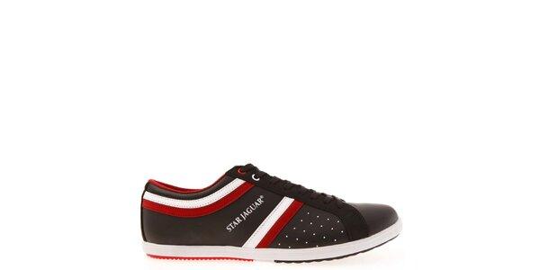 Pánske čierne tenisky s červeno-bielymi prúžkami Jaguar