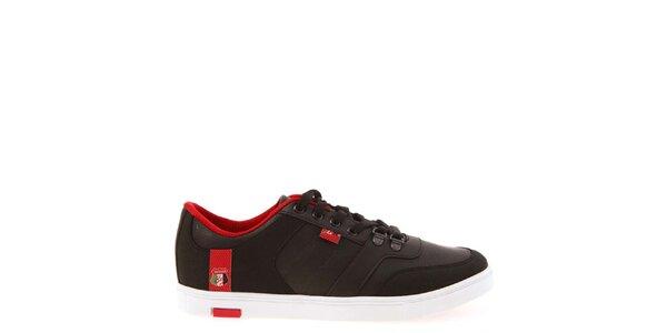 Pánske čierne tenisky s červenou podšívkou Jaguar