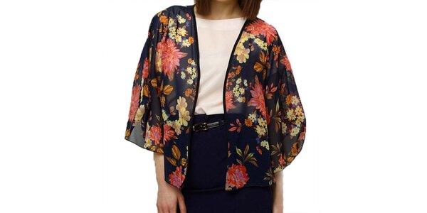 Dámske tmavomodré kvetinové kimono Deck
