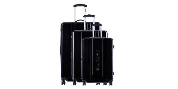 Set troch čiernych cestovných kufrov Renoma