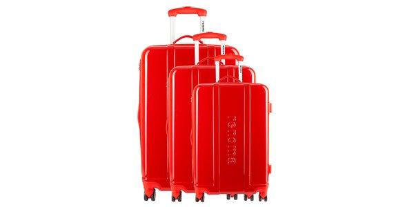 Set troch červených cestovných kufrov Renoma