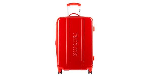 Menší červený cestovný kufor Renoma