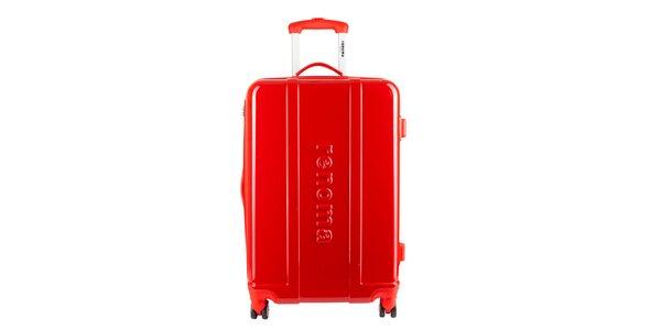 Väčší červený cestovný kufor Renoma