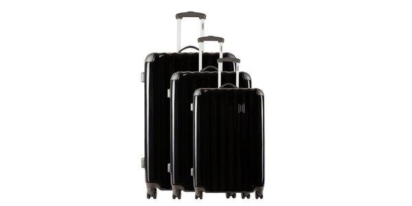 Menší čierny kufor so sivými rohmi Renoma