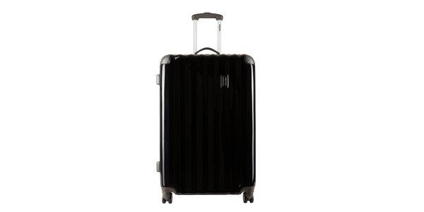 Väčší čierny kufor so sivými rohmi Renoma