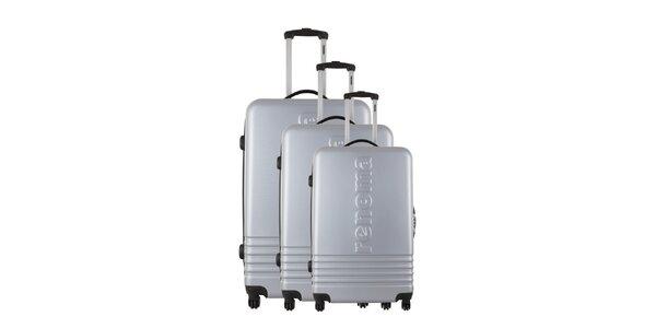 Sada troch striebornošedých kufrov Renoma