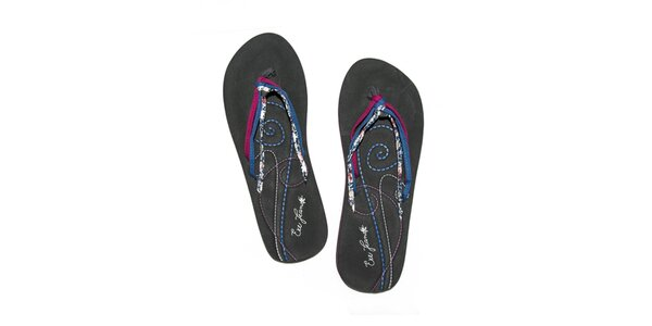 Dámske čierne penové žabky s farebnými šnúrkami Exe Jeans