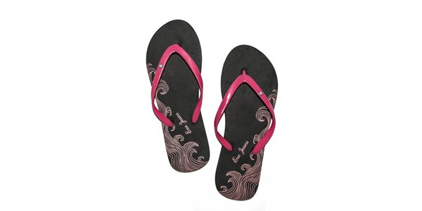 Dámske čierno-ružové penové žabky Exe Jeans