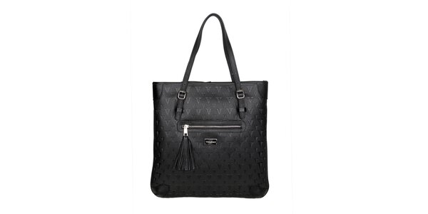 Dámska čierna kabelka so strapcom Verde Porte