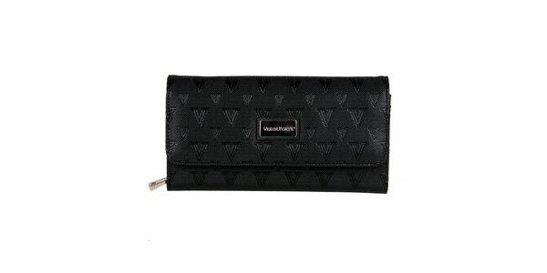 Dámska čierna listová kabelka s popruhom Verde Porte