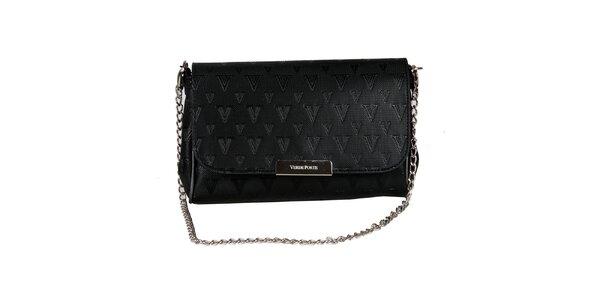 Dámska čierna listová kabelka so vzorom a striebornou retiazkou Verde Porte