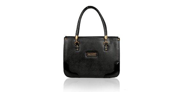 Dámska čierna kabelka so zlatými detailmi Verde Porte