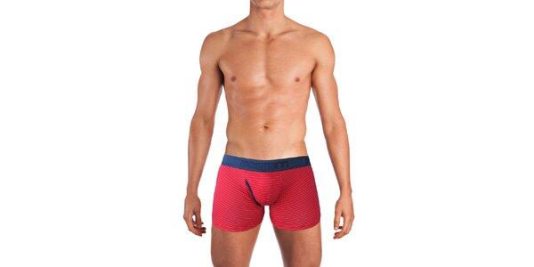Pánske červené boxerky s prúžkami Mosmann