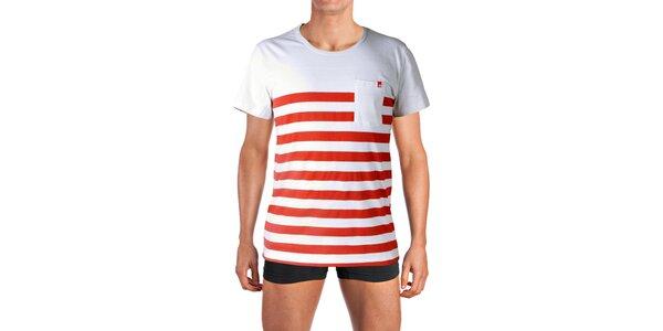 Pánske biele tričko s červenými prúžkami Mosmann