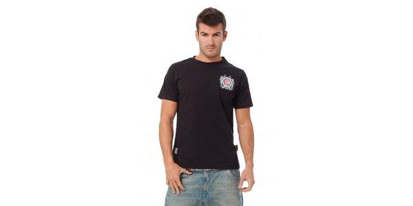 Pánske čierne tričko Indian Face s potlačou