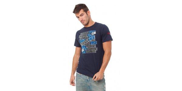 Pánske tmavo modré tričko Indian Face s potlačou