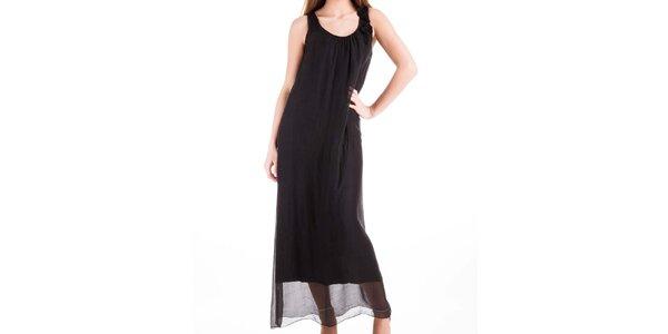 Dámske dlhé čierne hodvábne šaty Keysha