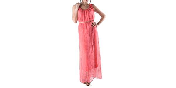 Dámske dlhé korálovo červené hodvábne šaty Keysha