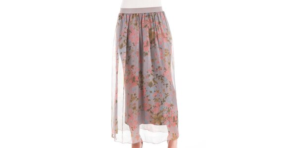 Dámska hodvábna sukňa s kvetinovou potlačou Keysha
