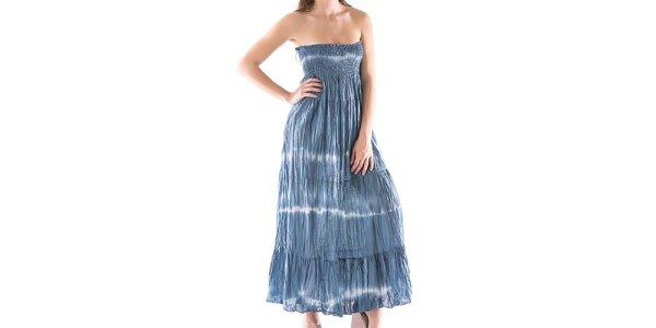 Dámske dlhé modré šaty bez ramienok Keysha
