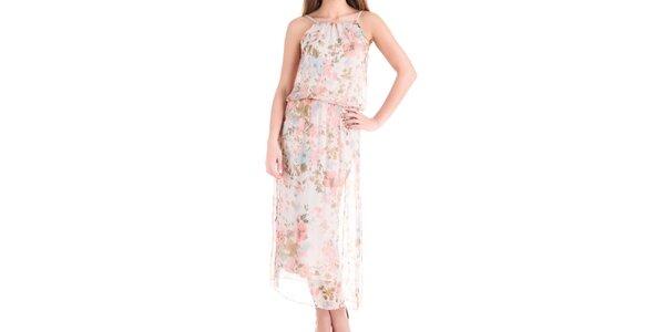 Dámske dlhé hodvábne šaty s kvetinovou potlačou Keysha