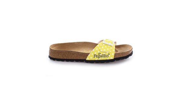 Hnedé šľapky s bodkovaným žltým remienkom Papillio