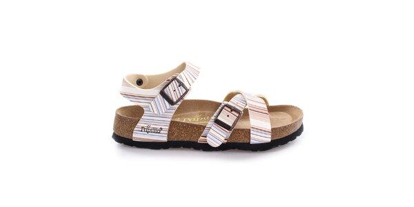 Farebne pruhované sandále Papillio