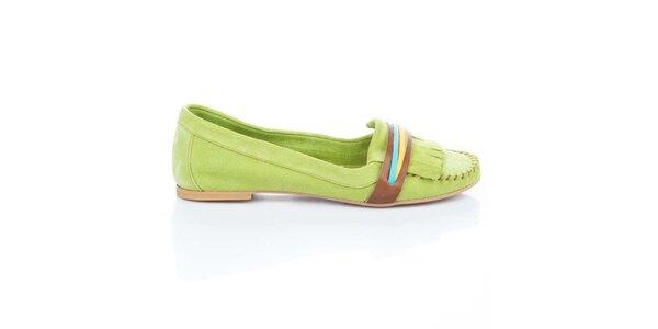 Dámske svetlo zelené semišové topánočky s farebnými prúžkami Bueno