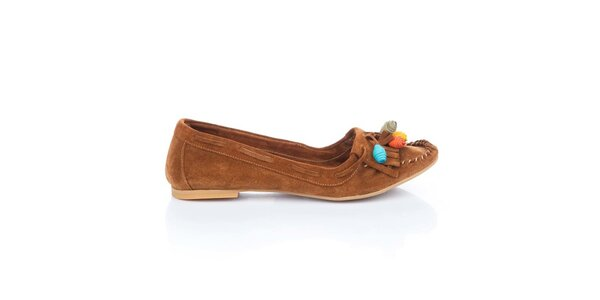 Dámske hnedé semišové topánočky s farebnými ružičkami Bueno