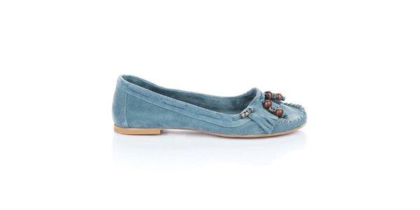 Dámske modré semišové mokasíny Bueno