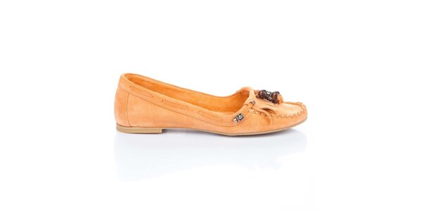Dámske oranžové semišové mokasíny Bueno