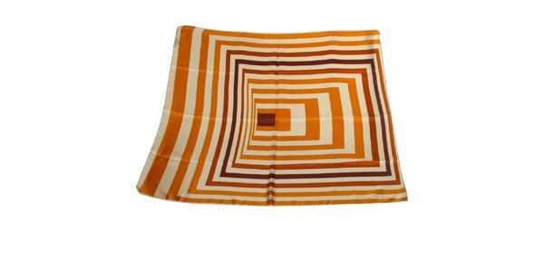 Dámska karamelová hodvábna šatka Gianfranco Ferré s grafickým vzorom
